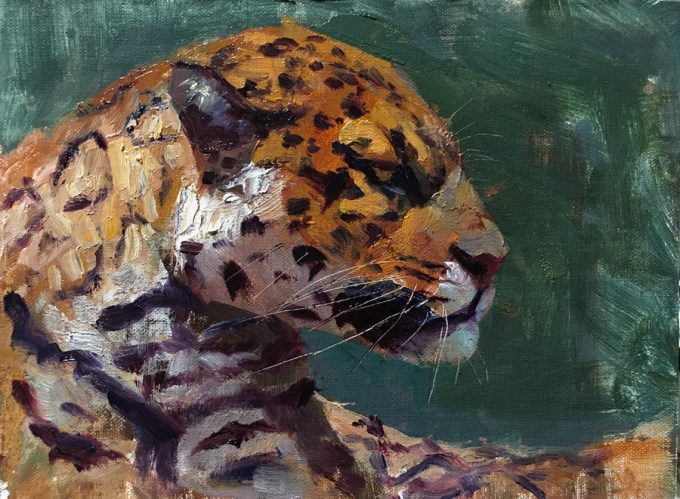 Jaguar oil painting