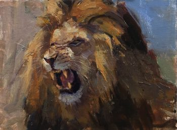 Lion Roaring oil painting