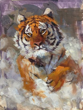 Siberian Tiger in the snow oil painting