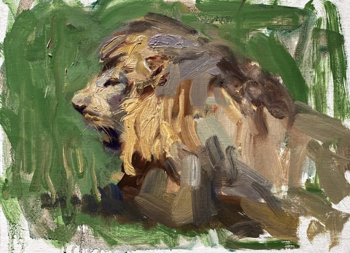 lion in grass oil painting