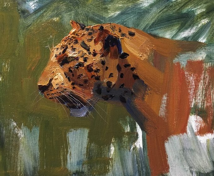 Leopard oil painting